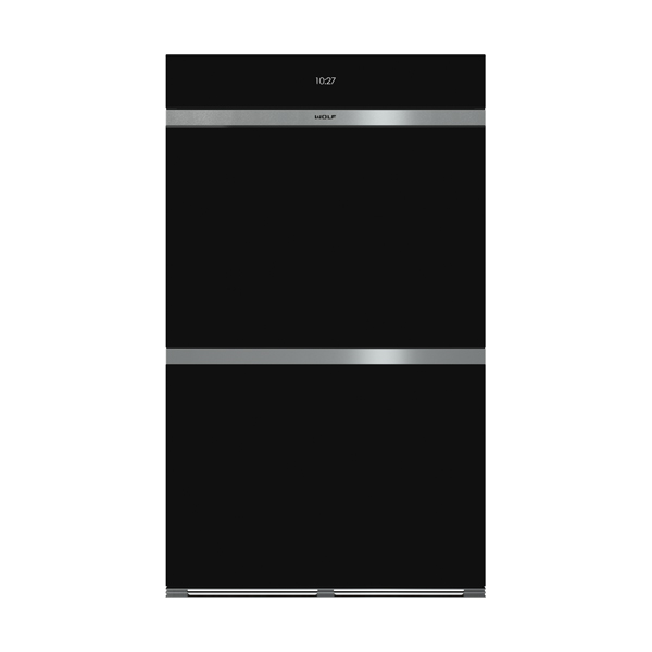 wolf - ICBDO30CM_B-BUILT-IN-M-SERIES-CONTEMPORARY-BLACK-GLASS-DOUBLE-OVEN