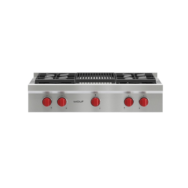 wolf - ICBSRT364C-914MM-SEALED-BURNER-RANGETOP-WITH-4-BURNERS-AND-CHARBROILER